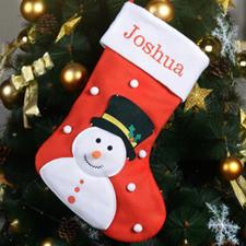 定制可刺绣雪人的圣诞袜