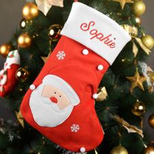 定制刺绣圣诞老人的圣诞袜