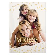 定制个性化圣诞节照片卡,5x7英寸金色闪光卡