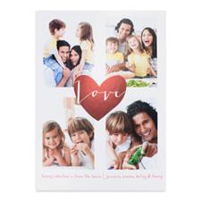 定制个性化情人节照片卡,红色爱心银卡片5x7英寸