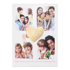 定制个性化情人节照片卡,金色爱心银卡片5x7英寸