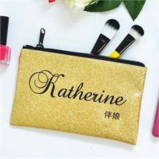 真金色闪光个性化化妆包 5X8英寸