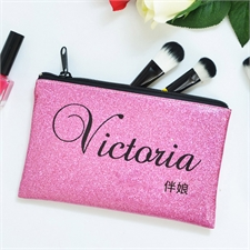 真闪光粉红色个性化化妆包 5X8英寸