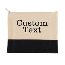 定制刺绣两行文字黑色帆布化妆包
