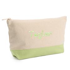 双色 草绿色刺绣化妆包