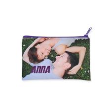5X8英寸照片定制闪金文字化妆包 紫色拉链(双面订制)