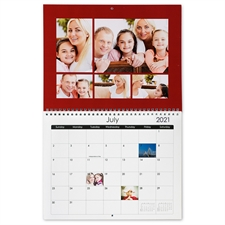 8.5×11英寸新年挂历 简约红色