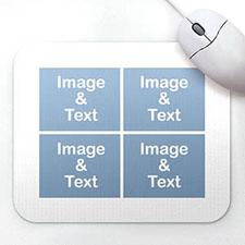 个性4图拼盘鼠标垫 白色