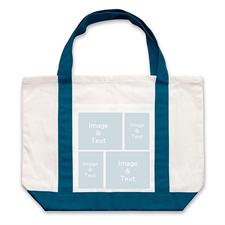 个性DIY帆布袋-四图拼贴(不同尺寸&深蓝)