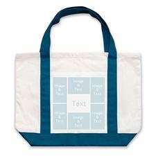 个性DIY帆布袋-六图拼贴(深蓝)
