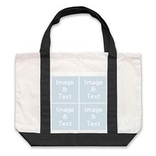 个性DIY帆布袋-四图拼贴(黑色)