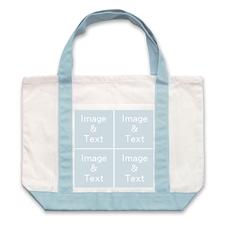 个性DIY帆布袋-四图拼贴(浅蓝)