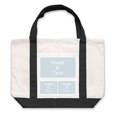 个性DIY帆布袋-三图拼贴(黑色)