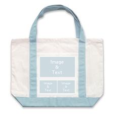 个性DIY帆布袋-三图拼贴(浅蓝)