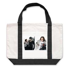 个性DIY帆布袋-双图拼贴(黑色)