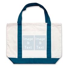 个性DIY帆布袋-双图拼贴(深蓝)