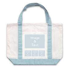 个性DIY帆布袋-四图拼贴(不同尺寸&浅蓝)