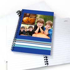 3图拼盘彩色条纹 笔记本 蓝色