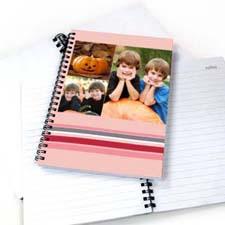 3图拼盘七彩条纹 笔记本 粉色