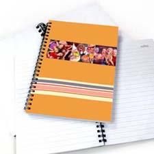 3图拼盘七彩条纹 笔记本 橙色