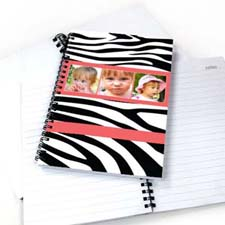 斑马纹3图拼盘笔记本 粉色