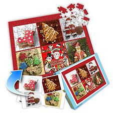圣诞红 10×8英寸个性拼盘拼图 6图拼贴