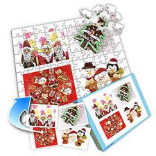 白色圣诞 10x8英寸个性拼盘拼图 4图拼贴