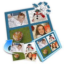 蓝色圣诞节 10×8英寸个性拼盘拼图 6图拼贴