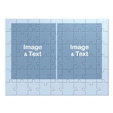 16×12英寸个性拼盘拼图 2图蓝色边框