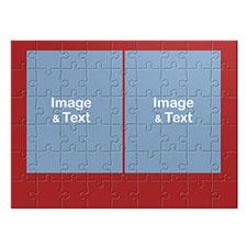 16×12英寸个性拼盘拼图 2图红色边框