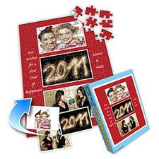 红色新年 10×8英寸个性拼图 3图拼贴