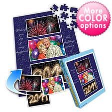 新年蓝 10×8英寸个性拼盘拼图 3图拼贴