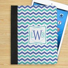蓝绿条纹个性化字母折叠保护套