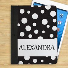黑底白圆点个性化名字折叠保护套