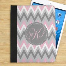 个性化粉红白灰条纹字母组合折叠保护套