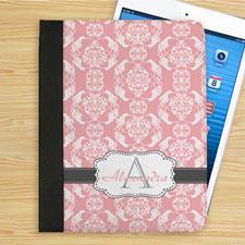 个性化优雅粉红和灰色锦缎字母组合折叠保护套