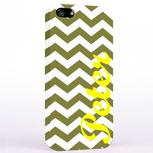 Personalized Grey Chevron iPhone Case