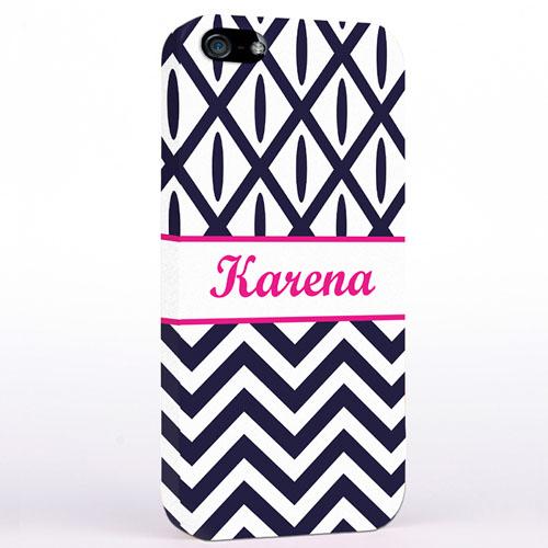 Personalized Black & White Chevron Ikat iPhone Case