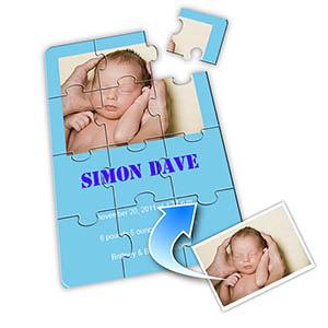 淡蓝色 宝宝纪念 5×7英寸小号照片拼图