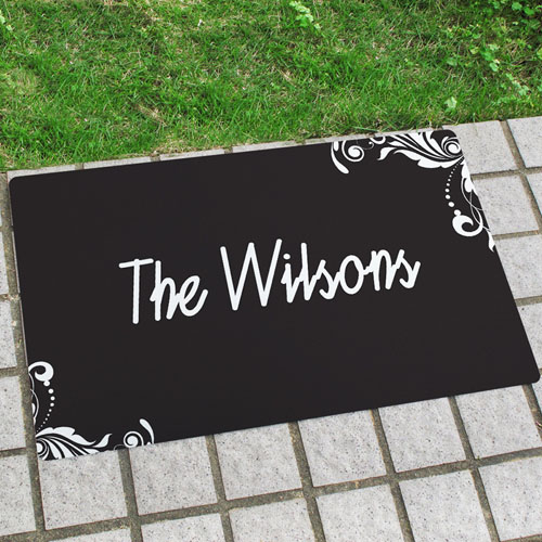 Black Floral Personalized Name Door Mat