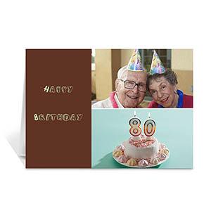 棕褐色雅致款拼盘生日卡 个性贺卡