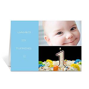 蓝色雅致款拼盘生日卡 个性贺卡