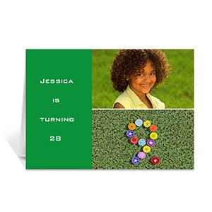 绿色雅致款拼盘生日卡 个性贺卡