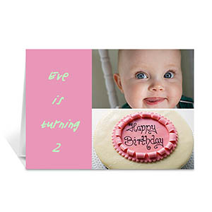 粉色雅致款拼盘生日卡 个性贺卡