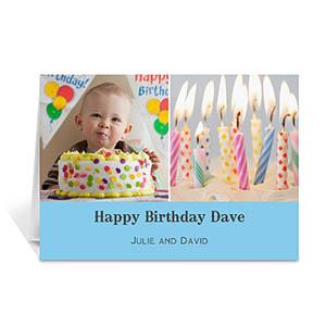 两图拼盘淡蓝色简约款生日卡 个性贺卡