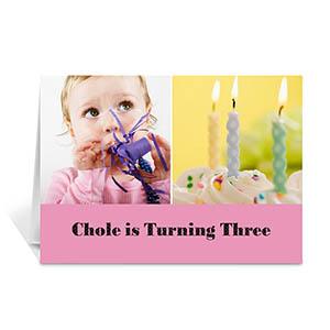 两图拼盘粉色简约款生日卡 个性贺卡