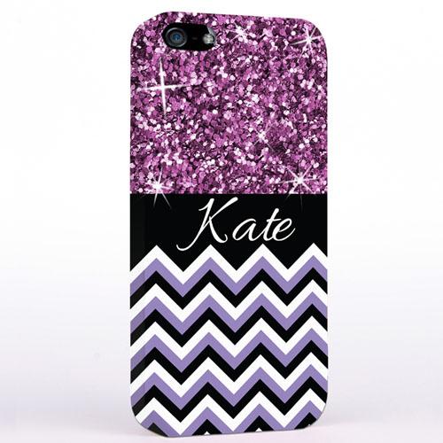 Personalized Glitter Lavender Chevron iPhone Case