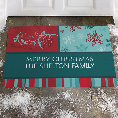 Create Your Own Colorful Greeting, Merry Christmas Door Mat