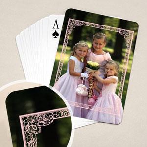 粉红边框 结婚纪念扑克牌 背面定制