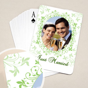 绿色碎花 结婚纪念扑克牌 背面定制
